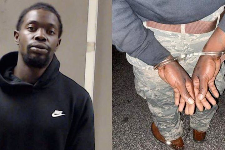 The suspect in the shooting of Daytona Beach Officer Jason Raynor was arrested outside Atlanta Saturday. He was restrained with Officer's Raynor's handcuffs. (Photo: Daytona Beach PD) -