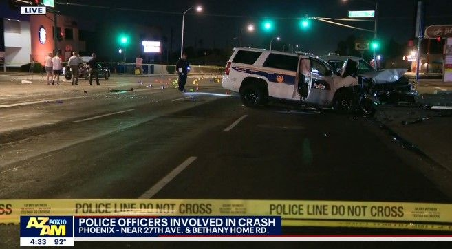 Two Phoenix officers were injured in a multi-vehicle crash Tuesday night. (Photo: Fox Screen Shot) -