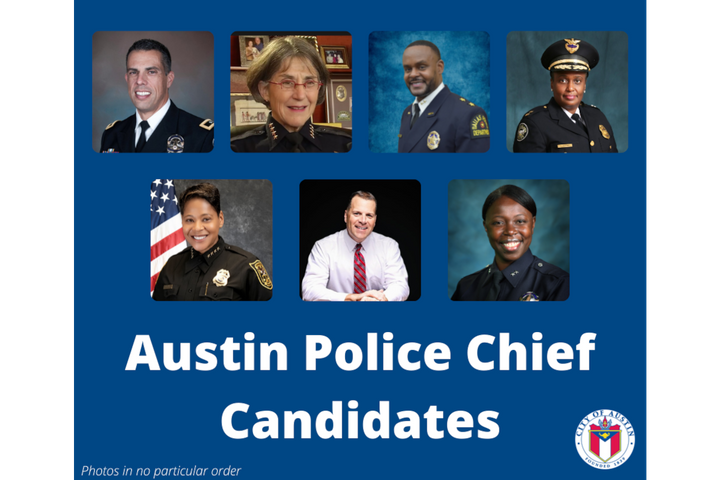 Seven law enforcement professionals are vying to be the next Austin police chief. -
