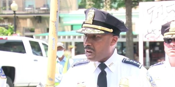 DC Police Chief Robert Contee briefs the press Friday about the city's rise in violent crime....