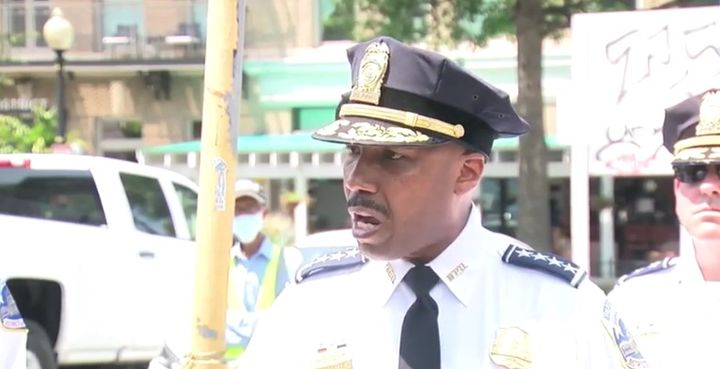 DC Police Chief Robert Contee briefs the press Friday about the city's rise in violent crime. (Photo: ABC 7 Screen Shot) -