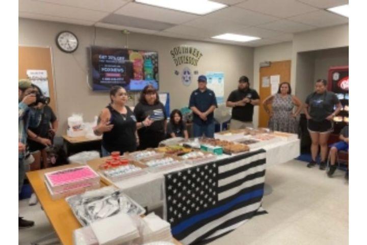 Valerie Zamarripa, the mother of fallen officerPatrick Zamarripa, brought breakfast to the Dallas Police Southwest Sub-Station. (Photo: Dallas PD) -
