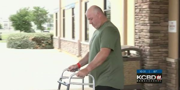 There were cheers, tears and hugs as Sgt. Shawn Wilson walked out of the facility with a walker....