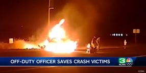 Off-Duty CA Officer Pulls 2 from Burning Wreck