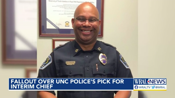 Assistant Chief Rahsheem Holland is now interim chief of the UNC Chapel Hill police. (Photo: WRAL Screen Shot) -