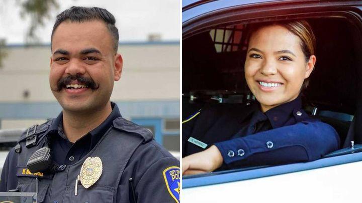 Galt, CA, police officersHarminder Grewal andKapri Herrera were critically injured in a crash Sunday. (Photo: Galt PD) -