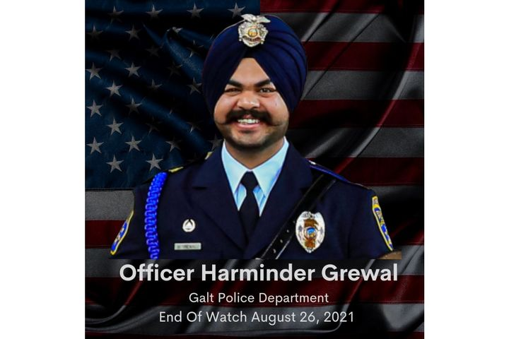 Galt (CA) Police Department Officer Harminder Grewal died Thursday from injuries he sustained in an on-duty car crash on Sunday, Aug. 22. -