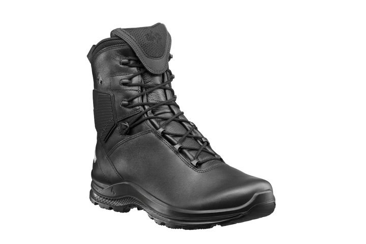 The HAIX Black Eagle Tactical 2.0 FL is an 8-inch boot with a full leather upper and a Crosstech inner lining that protects against water and body fluids. -