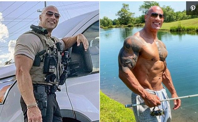 Patrol Lieutenant Eric Fieldsof the Morgan County Sheriff's Office (Left) is gaining fame for looking a lot like movie star Dwayne Johnson (right). (Photo: Morgan County SO and Instagram) -