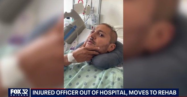 Critically wounded Chicago Officer Carlos Yanez Jr. has left the hospital for rehab. (Photo: Fox 32 screen shot) -
