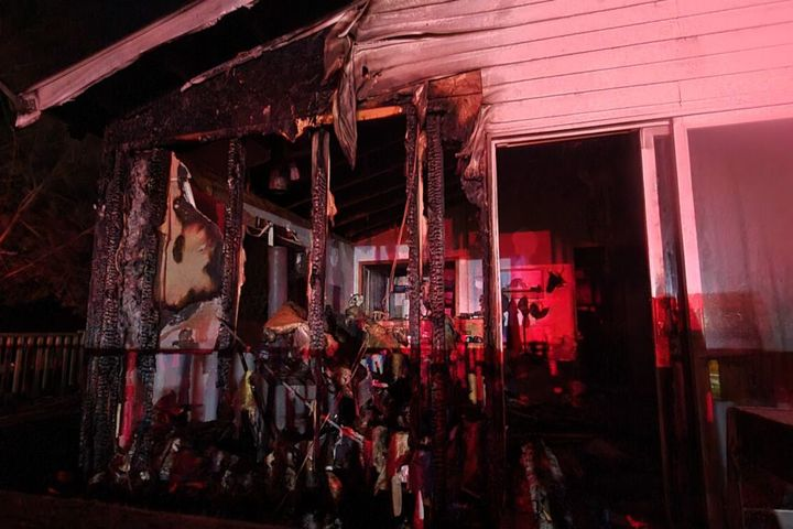 The home was severely damaged in the Wednesday fire. -