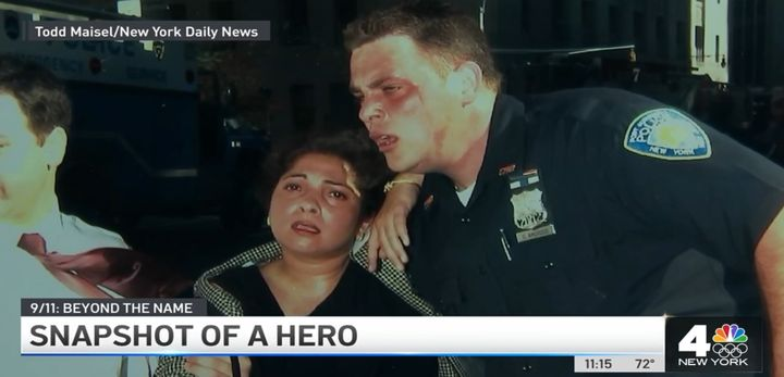 Officer Christopher Amoroso of the Port Authority Police rescuedSuman Dhamija during the 9/11 attack. Officer Amoroso was killed when the towers fell.Dhamija survived and now lives in India.(Photo: NBC screen shot) -