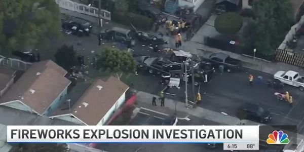 The aftermath of the June fireworks disposal explosion in Los Angeles. (Photo: KNBC screen shot)