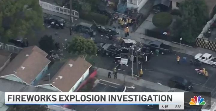 The aftermath of the June fireworks disposal explosion in Los Angeles. (Photo: KNBC screen shot) -