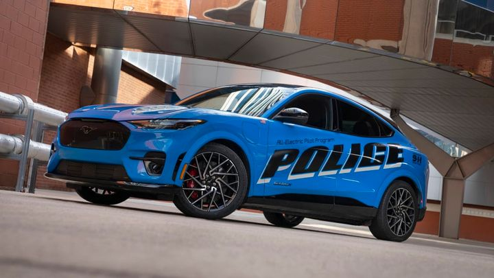 Ford is reportedly sending a police version of the Mustang Mach-E electric vehicle for Michigan State Police testing. (Photo: Ford) -