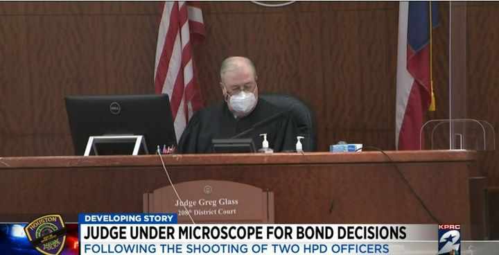 """Judge Greg Glass lowered the bond on accused cop killerDeon Ledet in November. Ledet reportedly shot and killedSr. Police Officer William """"Bill"""" Jeffrey and was killed when officers returned fire. (Photo: Click2Houston screen shot) -"""