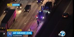 LAPD Motor Officer Hospitalized After Accident on Freeway