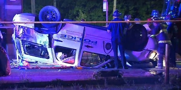 Two St. Louis officers were injured in a crash Wednesday night. (Photo: KMOV Screen Shot)