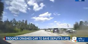 FL Trooper Rams Suspect's Vehicle to Save Deputy Deploying Spikes