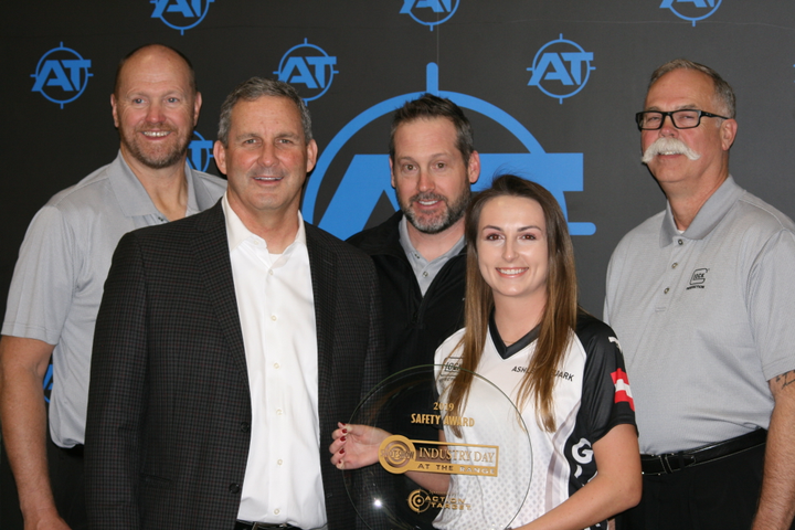 Left to right: Ed Fitzgerald, special projects manager for Glock; Mike Birch, president and CEO ofAction Target; Ryan Allen, district manager (LE) for Glock; Ashley Rhuark, Glock Shooting Team ; Larry Ford, law enforcement district manager for Glock. (Photo: Action Target)  -
