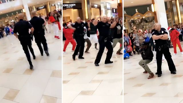 Aventura Florida police officers joined local dancers in a flash mob routine at the mall. (Photo: Aventura PD/Twitter)  -