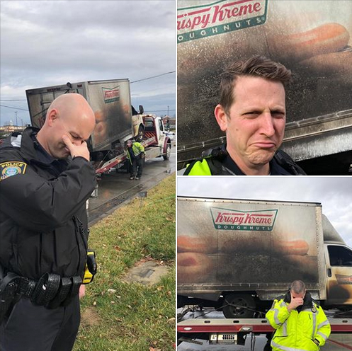 The Lexington (KY) Police Department posted these photos of officers mourning over burned doughnuts. (Photo: Lexington PD/Facebook)