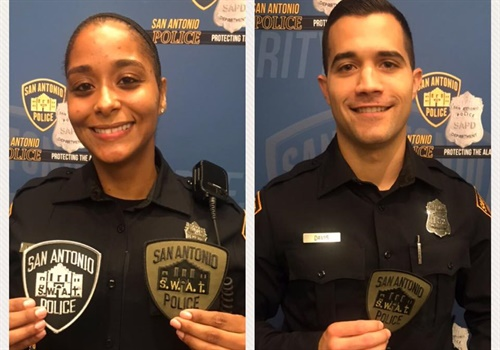 The San Antonio (TX) Police Department added two new members to its SWAT Team last week—one of whom is the first ever female to join the unit. Image courtesy of SAPD / Facebook. 