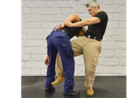 When you deliver the knee to the groin, the suspect should drop his level.