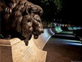 This is the East Wall lion at the National Law Enforcement Officers Memorial just prior to...