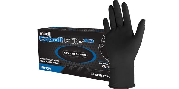 maxill Cobalt Elite 300 black nitrile gloves