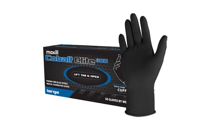 maxill Cobalt Elite 300 black nitrile gloves  - Photo: maxill