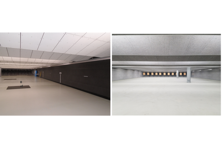 These photos show before and after images of the Portland (OR) Police Department range that Troy Acoustics outfitted with acoustics solutions. - Photo: Troy Acoustics