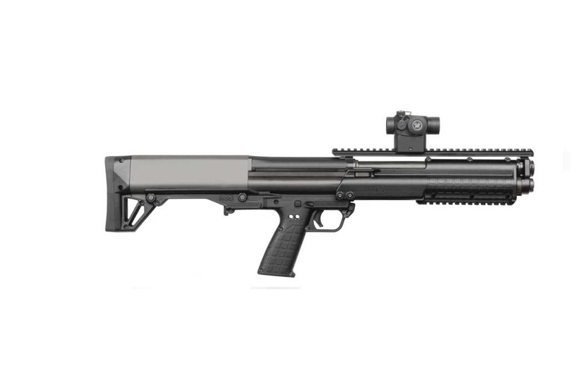 """The Kel-Tec KSG's dual-tube magazines hold 6+6+1 rounds of 12-gauge 3"""" shells or 7+7+1 of 2-3/4""""..."""
