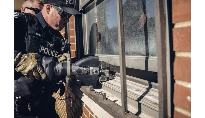 StrongArm from Hurst Jaws of Life is a portable hydraulic power tool made to cut, lift, and spread, replacing many single-purpose hand tools for law enforcement.  - Photo: Hurst Jaws of Life