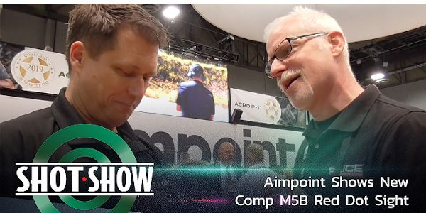 Aimpoint's new Comp M5B Red Dot Sight in their booth at SHOT 2020