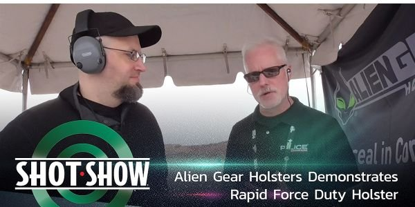 Alien Gear Holsters shows its Rapid Force Duty Holster at SHOT Show 2020's Industry Day at the...