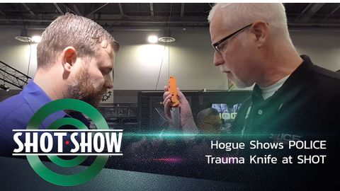 Hogue shows its new Trauma First Response Tool, a rescue knife, at SHOT Show 2020.