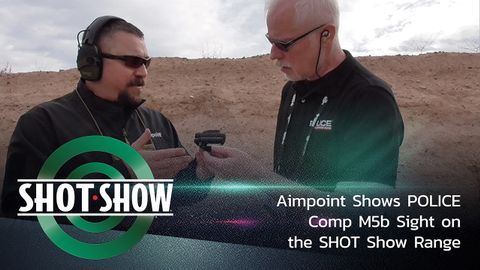 Aimpoint shows POLICE the new Comp M5b Red Dot Sight on the range at SHOT Show 2020.