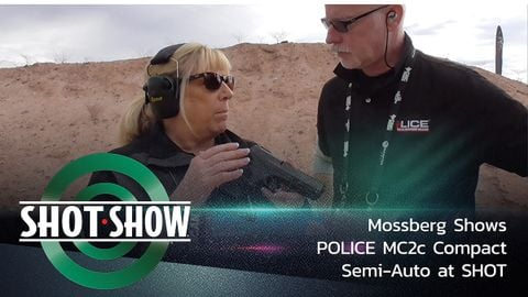 Mossberg shows POLICE its new MC2c Compact Semi-Auto 9mm handgun at the SHOT Show Industry Day...
