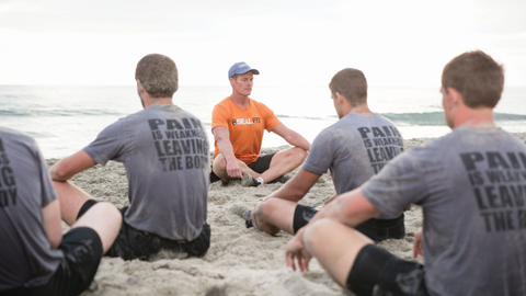Mark Divine of SEALIFT leads athletes through a breathing and meditation exercise. (Photo: Mark...