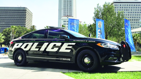 Ford's new hybrid Police Responder was introduced in April in downtown Los Angeles. Photo by Thi...