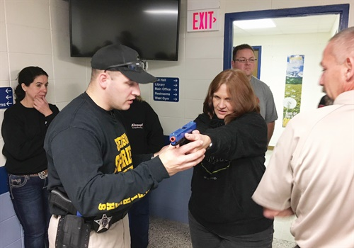 Part of Jefferson County's Citizens Police Academy involves learning how to shoot a weapon and deciding when to use it. Photo: Ronnie Garrett