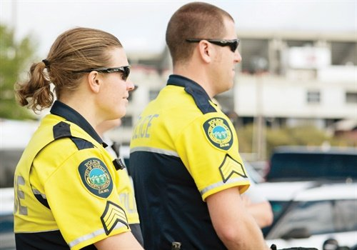 Community members recognize members of the Asheville PD Downtown Unit by their bright yellow shirts. Photo: South Carolina Department of Public Safety