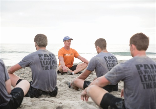 Mark Divine of SEALIFT leads athletes through a breathing and meditation exercise. (Photo: Mark Divine)