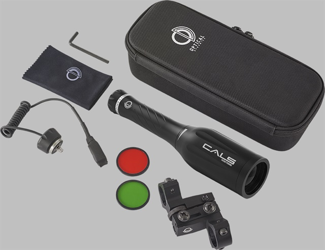 The OD40 comes with a zippered nylon case and both red and green filters. There's also a mounting kit available with dual rings and a remote pressure switch. (Photo: Optical Dynamics)