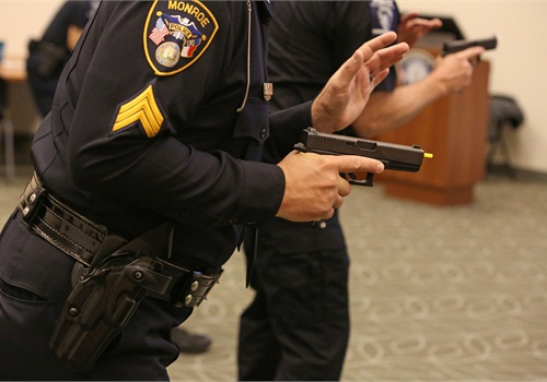Officers are trained to move into their stance before reaching for their guns.