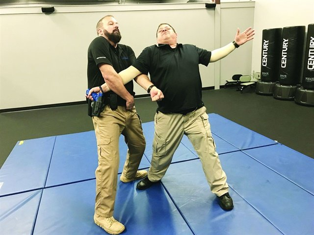 You can control your weapon using a power lock cross grab technique. Photo: Dave Young