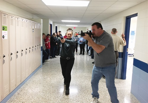 CPA participants take active shooter training at a local high school to help them understand how officers train. Photo: Ronnie Garrett