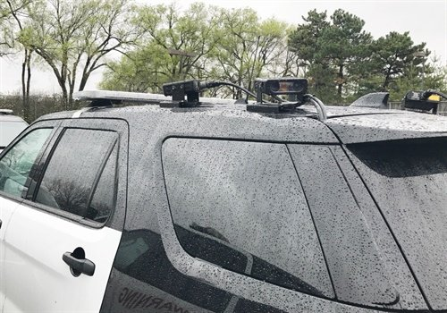 Patrol vehicle with forward- and rear-facing ELSAG cameras. This is a typical LPR configuration for a mobile system. Photo: Glenexa (KS) PD