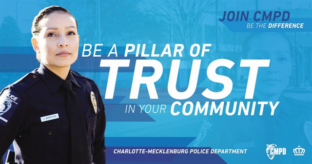Charlotte-Mecklenburg (NC) PD has launched a major recruiting campaign showcasing its agency's diversity. Image: Charlotte-Mecklenburg (NC) Police Department